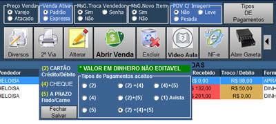 Configurações da tela de vendas | Mendesoft